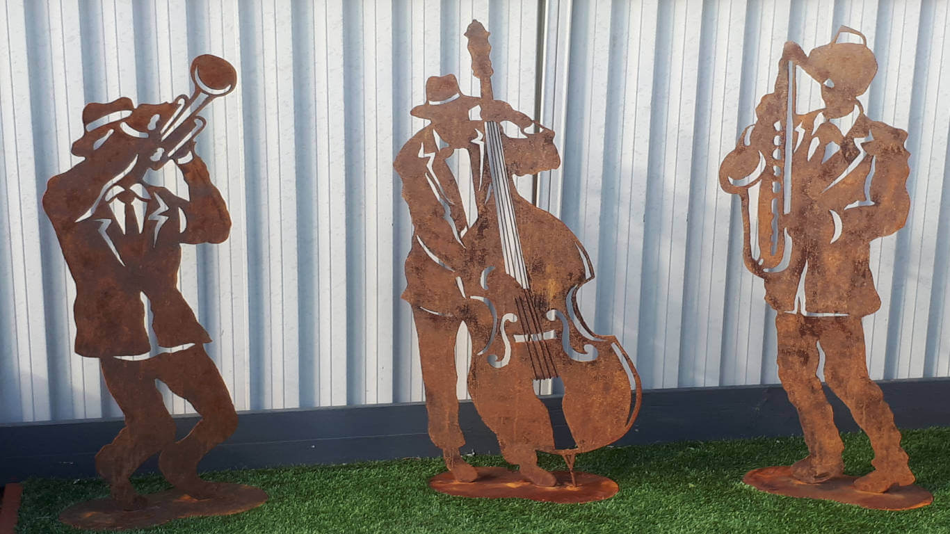Garden Art Metal Sculpture Jazz Band Double Base, Saxophone and Trumpet players